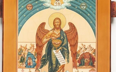 A LARGE ICON SHOWING ST. JOHN THE FORERUNNER WITH