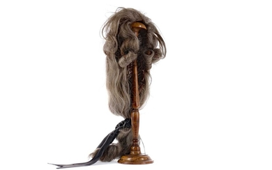 A LATE 19TH CENTURY WALNUT WIG STAND, ALONG WITH A WIG
