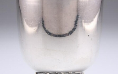 A MODERNIST SILVER-PLATED GOBLET, the rounded bowl with