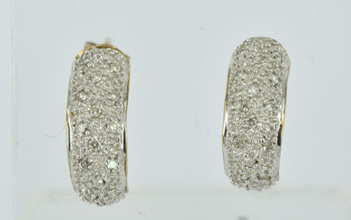 A PAIR OF 9CT GOLD AND DIAMOND EARRINGS