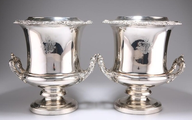 A PAIR OF OLD SHEFFIELD PLATE WINE COOLERS, CIRCA