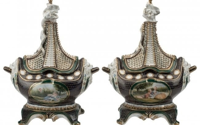 A Pair of Sèvres-Style Covered Urns 20 x 14-1/2
