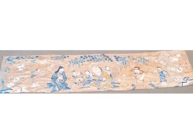 A SILK BED HANGING OF THE THREE GODS OF GOOD FORTUNE, Fuk, L...