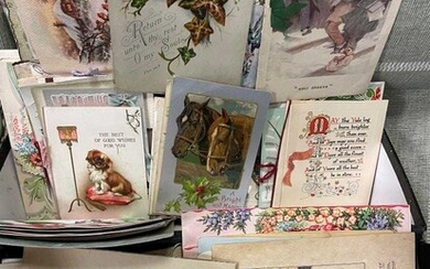 A collection of vintage greetings cards circa early to mid 20th century, loose, and various ephemera