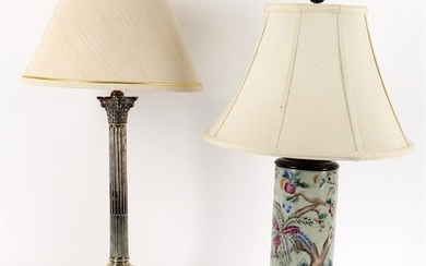 A columnar silver plated table lamp