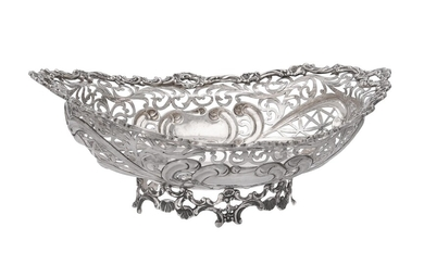 A continental silver coloured shaped oval pierced dish