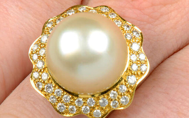 A cultured pearl and pavé-set diamond floral cluster ring, by Grima.