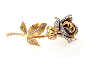 NOT SOLD. A diamond brooch in the shape of a rose set with numerous diamonds,...