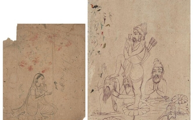 A drawing of Rani Jindan (D. 1863), Maharaja Ranjit Singh's youngest wife, Sikh school, Punjab, India, 19th century, ink on paper, identifying inscription to reverse, 15.6 x 13.5cm.; and a drawing of Akali Nihang in various poses, 24.2 x 16cm. (2)...