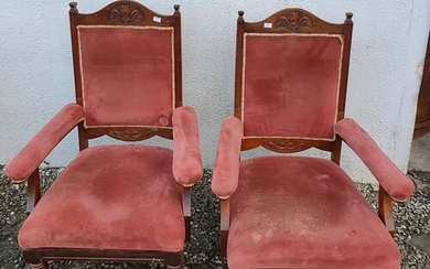 A good pair of Late 19th Century Walnut show frame Armchairs...