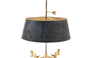 A late 19th / early 20th century French gilt bronze and tôle peinte Bouillotte lamp in the Empire style