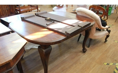 A late Victorian mahogany wind-out dining table, on cabriole...