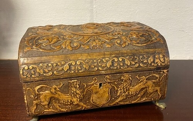 A leather covered jewellery box, in the Renaissance style