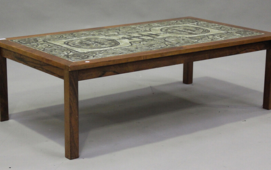 A mid-20th century Danish coffee table by 'Ox Art' for Trioh, the tiled top raised on bloc