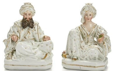 A pair of Jacob Petit porcelain incense/candle holders