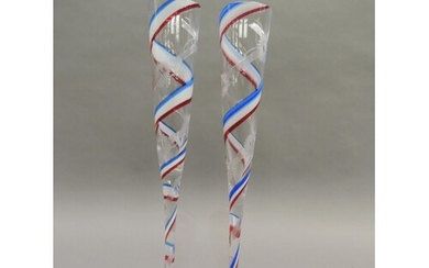 A pair of Royal Brierley Millenium champagne flutes, the cle...