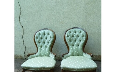 A pair of Victorian button back nursing chairs, upholstered ...