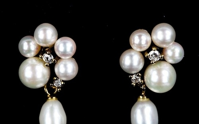 A pair of Vintage 9ct gold pearl and diamond drop earrings, ...
