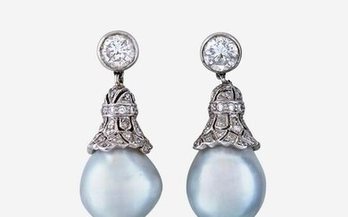A pair of diamond, cultured pearl, and platinum