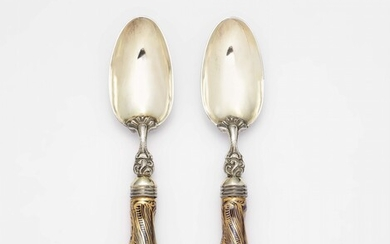 A pair of porcelain spoons with military motifs