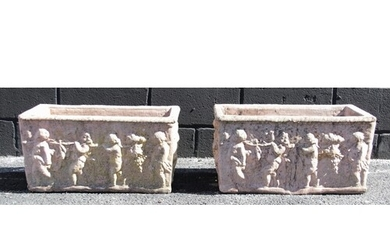 A pair of reconstituted stone planters, each of rectangular ...