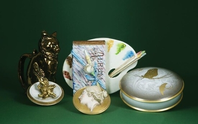 A polychrome porcelain and ceramic lot