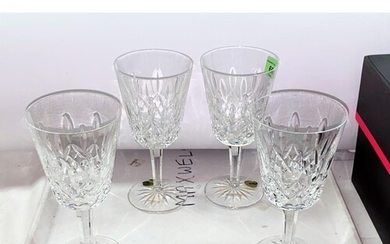 A set of Four Waterford Crystal Lismore 10oz wine goblets, h...