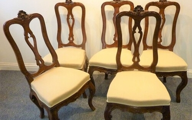 A set of five 19th century French walnut and upholstered sal...