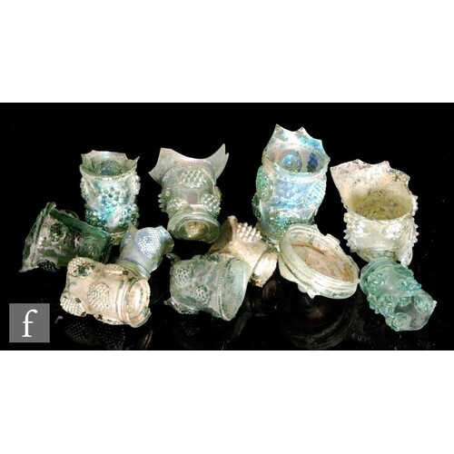 A small collection of excavated archaeological glass fragmen...