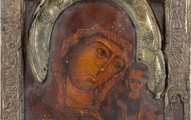 AN ICON SHOWING THE KAZANSKAYA MOTHER OF GOD WITH...