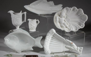 ASSORTED PRESSED OPAQUE GLASS NOVELTY ARTICLES, LOT OF