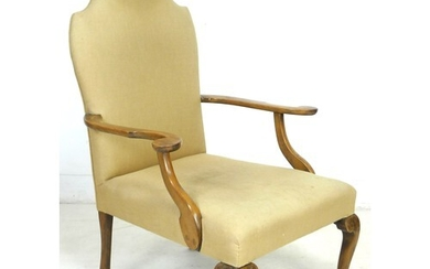 An Edwardian mahogany open armchair, in Queen Anne style, up...