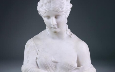 An Italian Carved White Marble Bust of Clytie, 19th/20th...