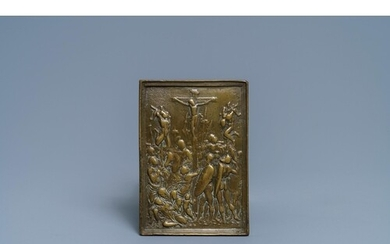 An Italian bronze pax with a 'Crucifixion' plaquette after a...