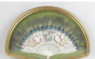 An early 20th century Chinese hand painted fan with peacock feathers