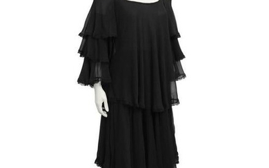 Anonymous Black Chiffon Tiered Gown