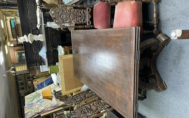Antique Continental Mahogany Wooden Table with Six