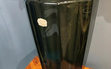 """Art Deco style Faceted Black Glass Moser Style Vase 12"""""""
