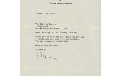 Bill Clinton Typed Letter Signed
