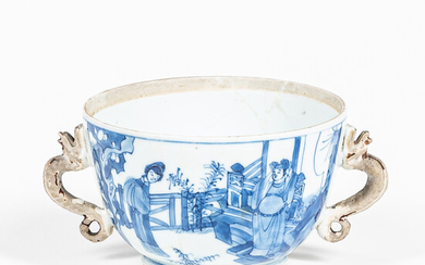 Blue and White Handled Cup