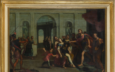 Bolognese school, early 18th century Esther before Ahasuerus Oil on canvas, 98.5x137 cm. Framed (defects and restorations)Read more