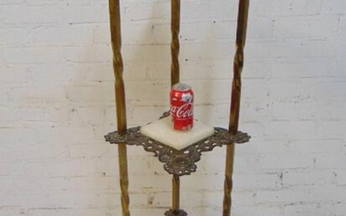 Brass & onyx etagere stand, 3 tier with onyx finials &