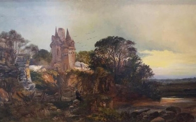 C. Morris, European School, Late 19th-Early 20th Century, River Landscape with Castle and Figures, Oil on Canvas, Framed, 21-1/2 x 34