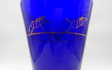 Carlo Nason - Rare sommerso glass vase with 24 kt gold details (27 cm) - .999 (24 kt) gold, Murano's glass