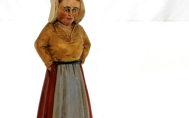 Carved wooden Polychrome vintage figure of a Dutch lady - 34...