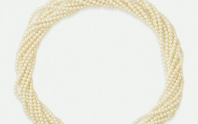 Cultured pearl and diamond torsade necklace