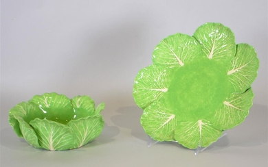 DODIE THAYER LETTUCE WARE CERAMIC BOWLS AND UNDER PLATE
