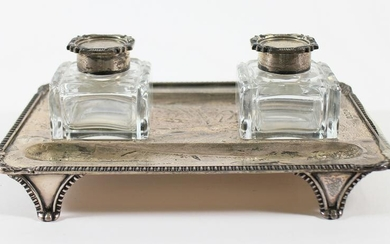 ENGLISH STERLING SILVER INKWELL SET