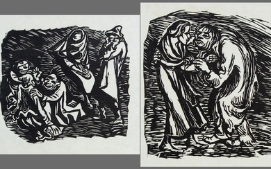 ERNST BARLACH (1870-1938). 2 sheets: A good man has to go begging, group of several figures.