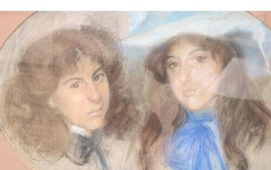Early 20th century English School, pastel, Portrait of two s...